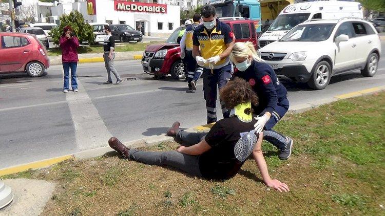 Gümbet Kavşağı'nda Kaza; 1 Yaralı