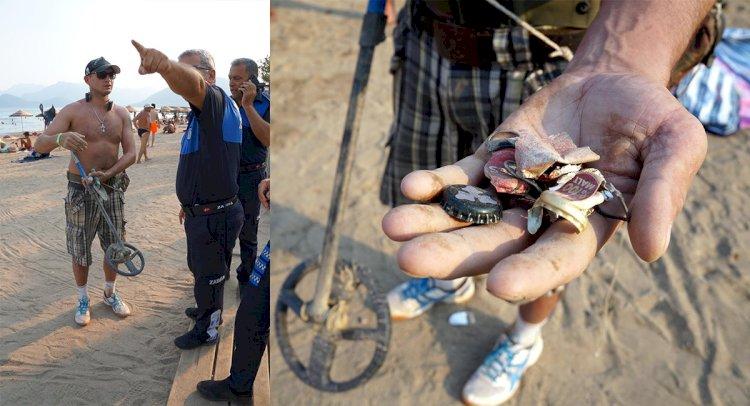 Plajda Detektörle Arama Yapan Turist Şaşırttı!