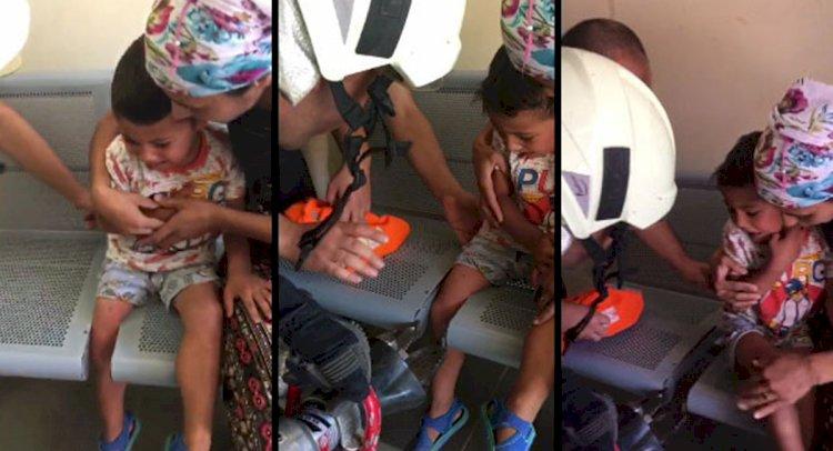 Bacağı Sıkışan Çocuğu İtfaiye Kurtardı