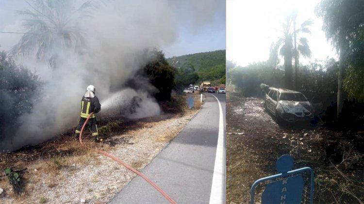 Kaza Yapan Araç Küle Döndü