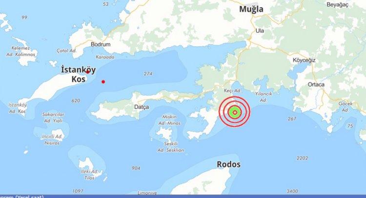 Marmaris'te 5,4 Büyüklüğü'nde Deprem