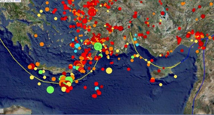 Helen Yayı'nda, 2020 Haziran ayında 30 günlük deprem aktivitesi...