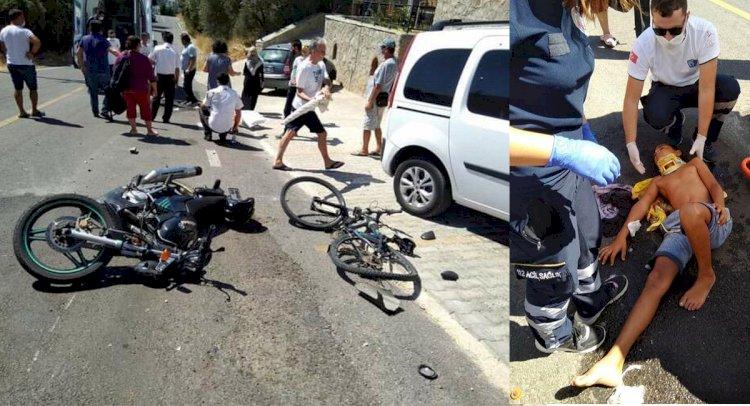 Bisikletli Çocuğa Motosiklet Çarptı!